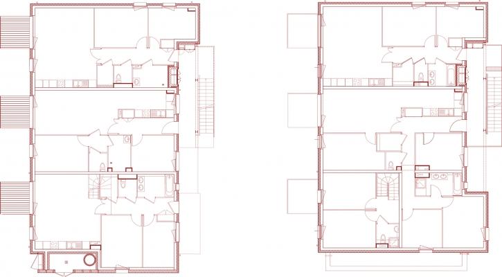 Rez de chaussée et étage logements intermediaires