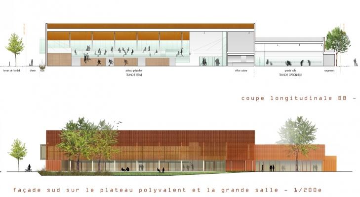 Coupe longitudinale et facade sud